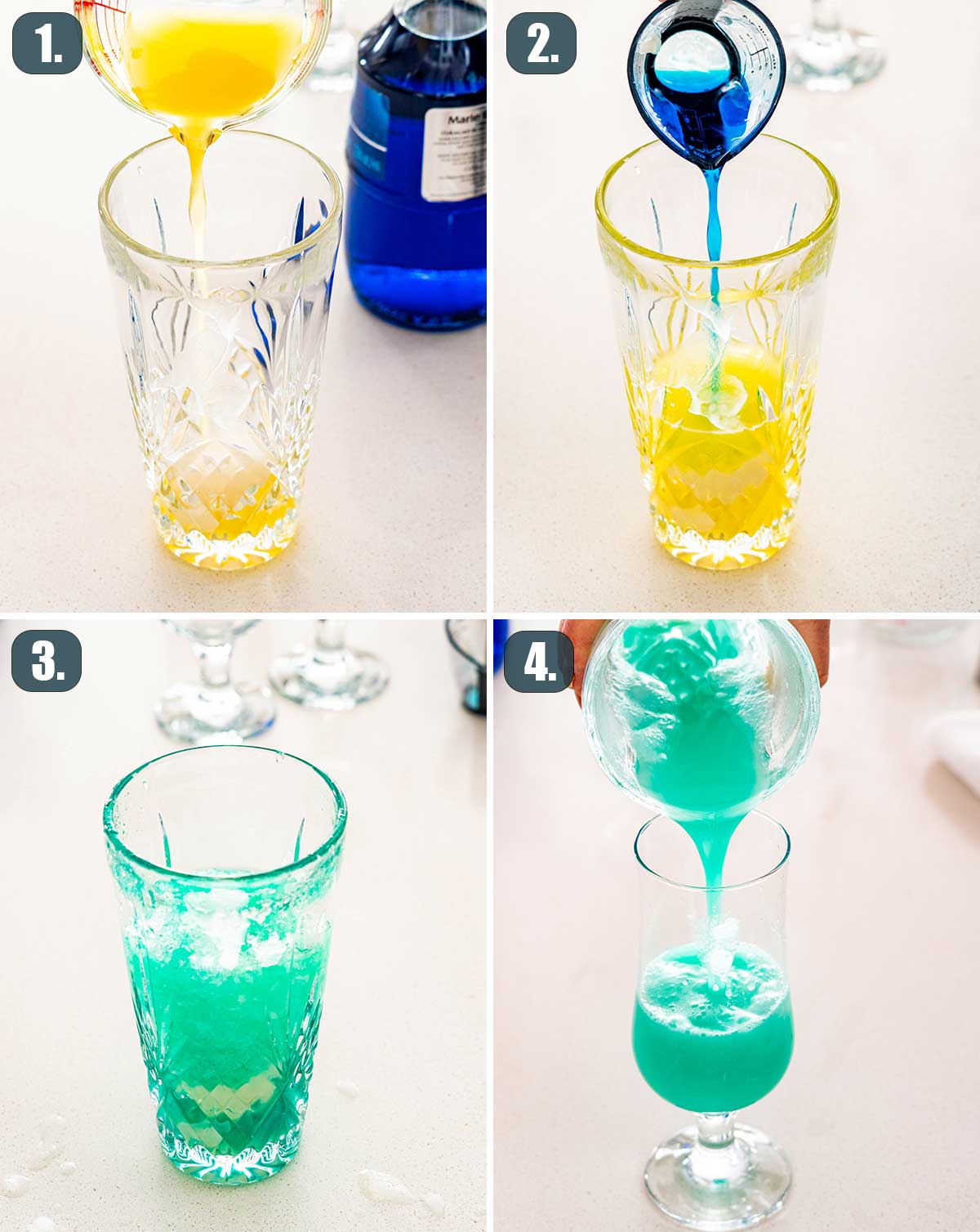 process shots showing how to make blue hawaiian.
