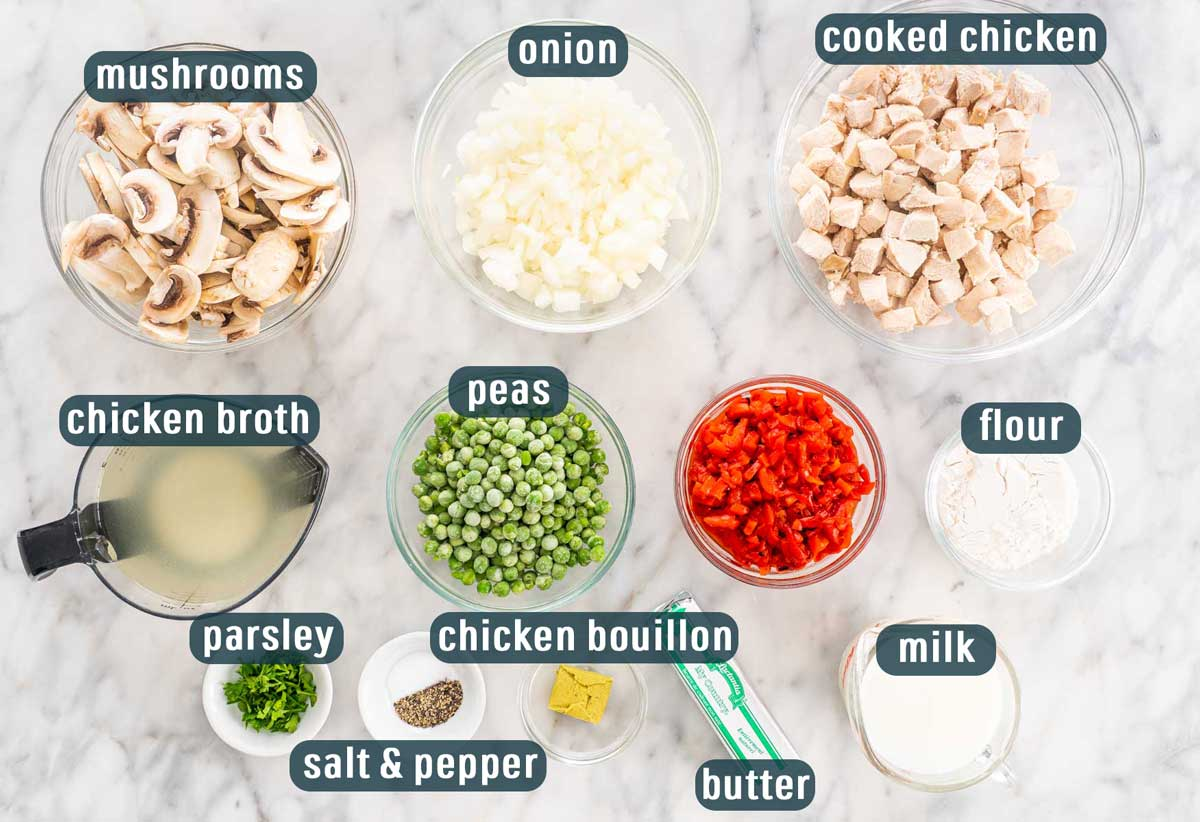 overhead of all the ingredients needed to make chicken a la king.