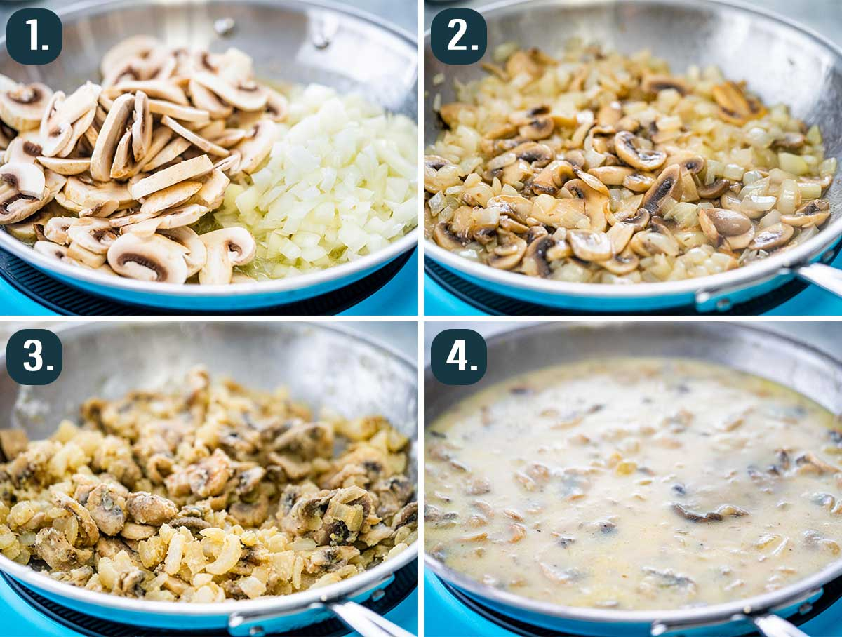 detailed process shots showing how to make gravy for chicken a la king.