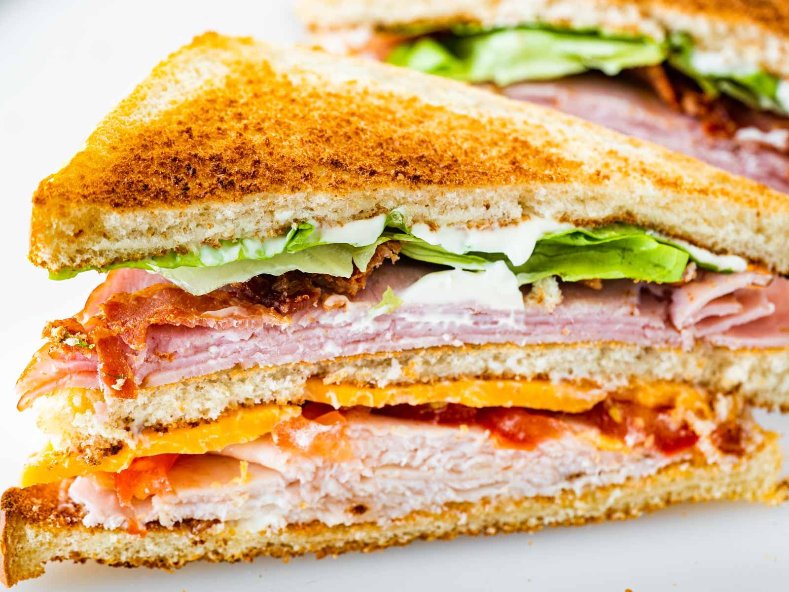 closeup of half a club sandwich.