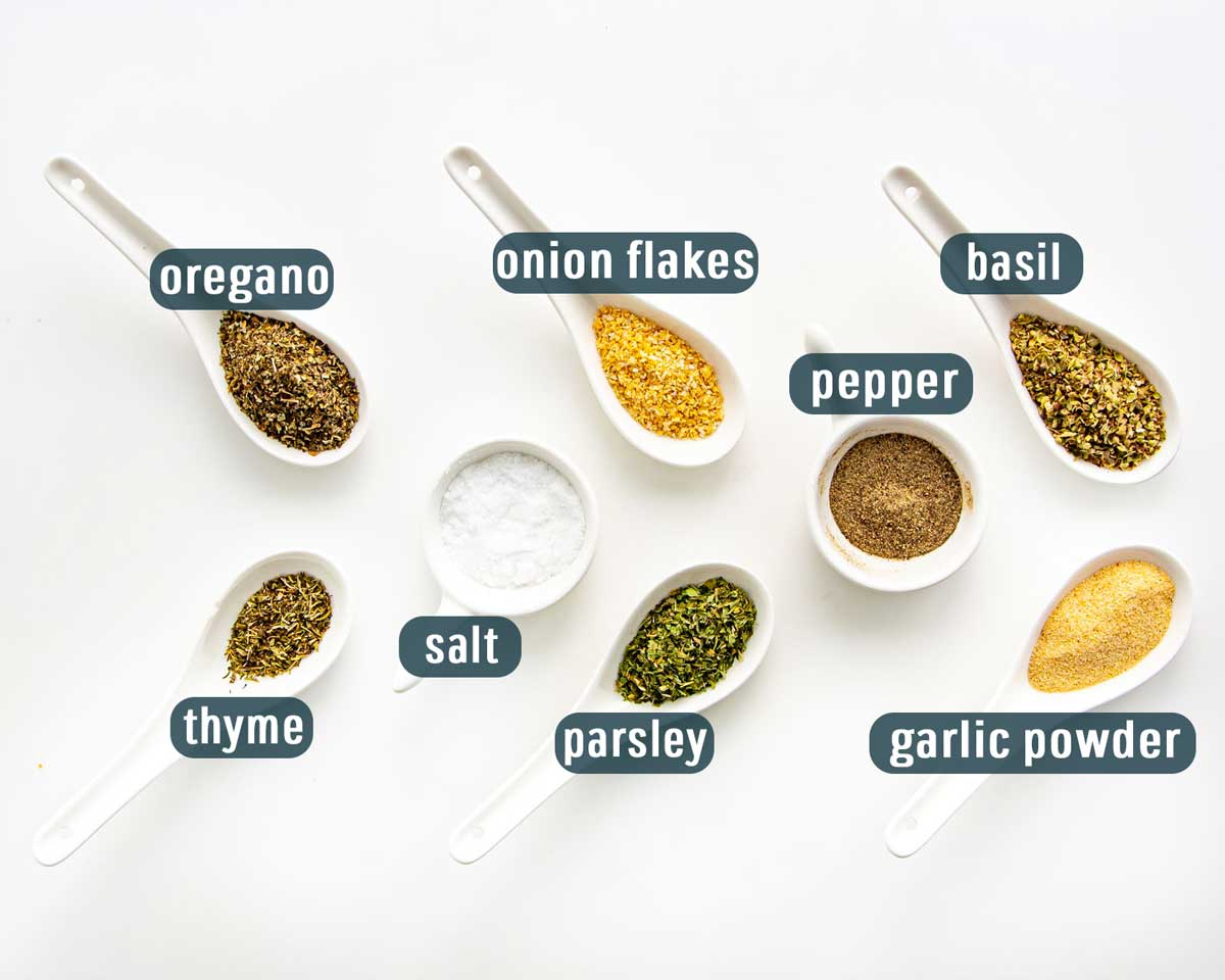 overhead shot of all the ingredients needed to make greek seasoning.