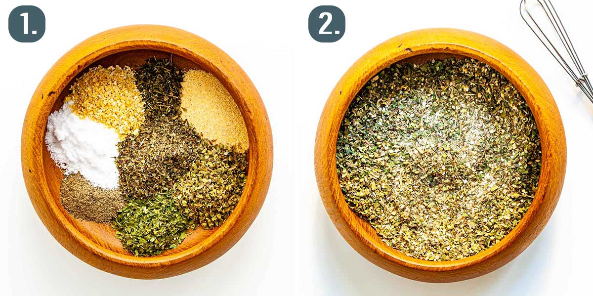 process shots showing how to make greek seasoning.