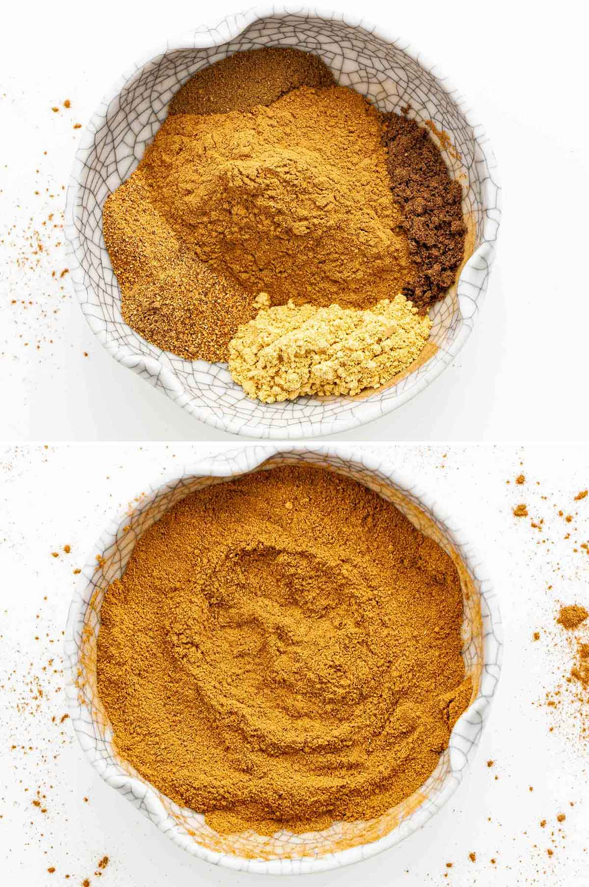 process shots showing how to make pumpkin pie spice.