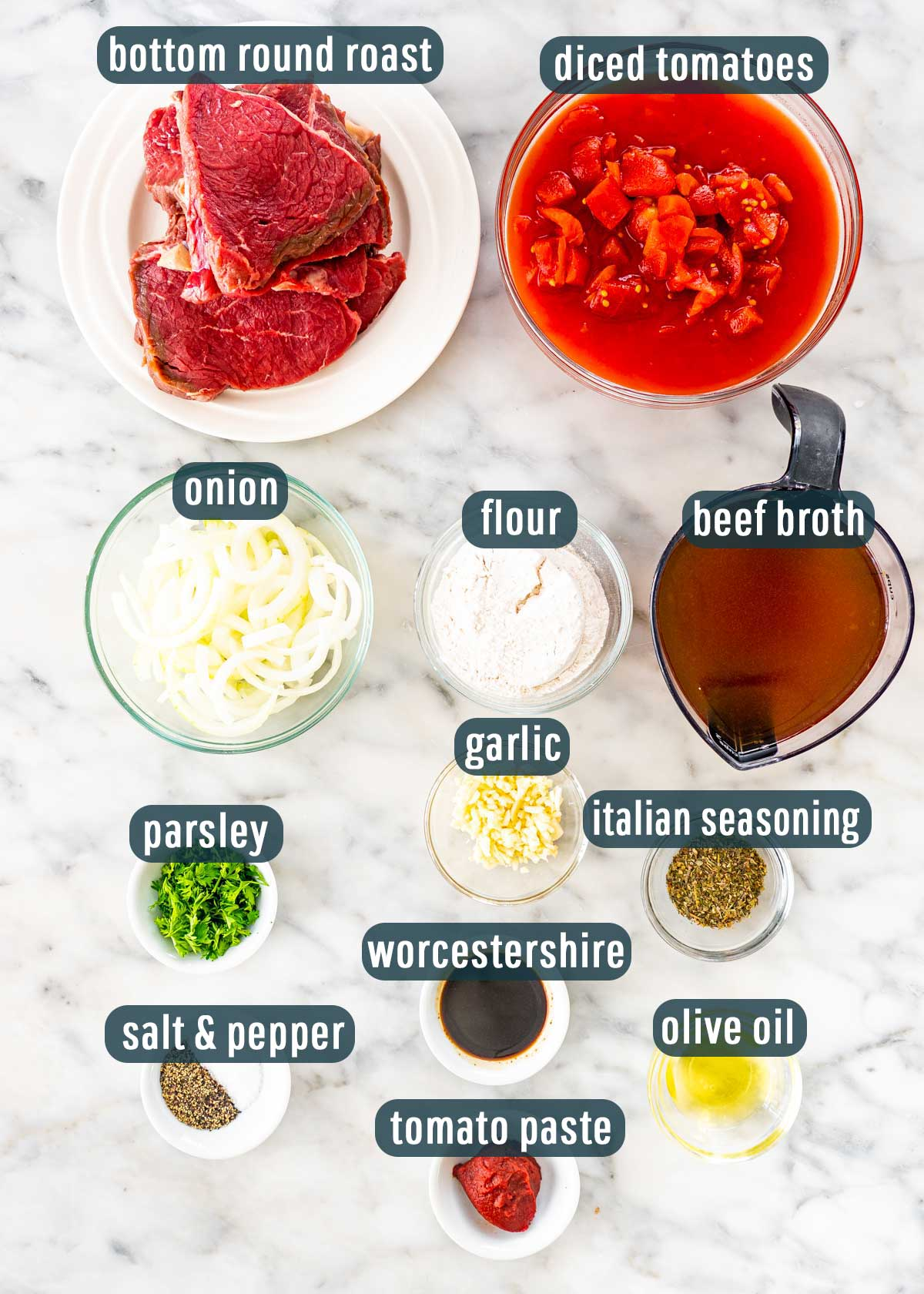 overhead shot of all the ingredients needed to make swiss steak.