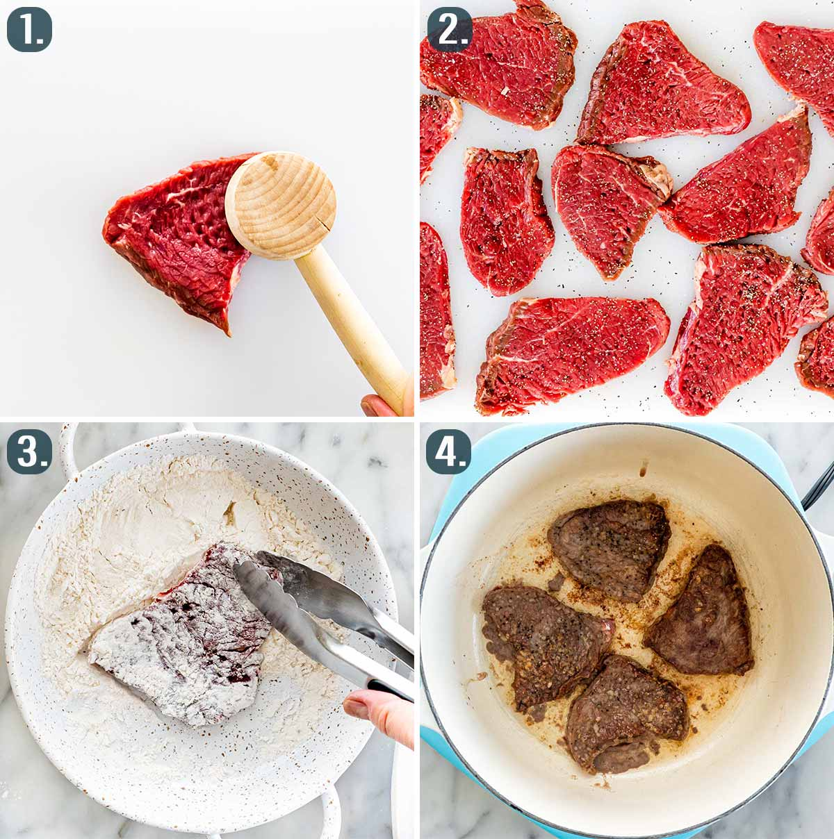 process shots showing how to prep steak for swiss steak.