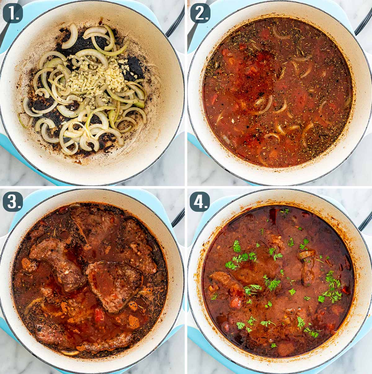 process shots showing how to make sauce for swiss steak.