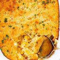 overhead corn casserole in a casserole dish.