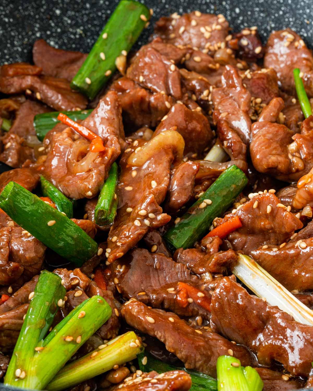 korean beef stir fry in a wok.