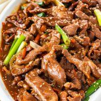 freshly made korean beef stir fry in a serving platter.