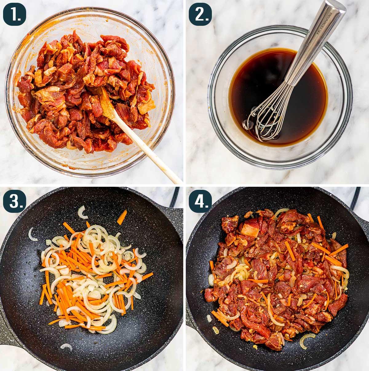 process shots showing how to make korean beef stir fry.