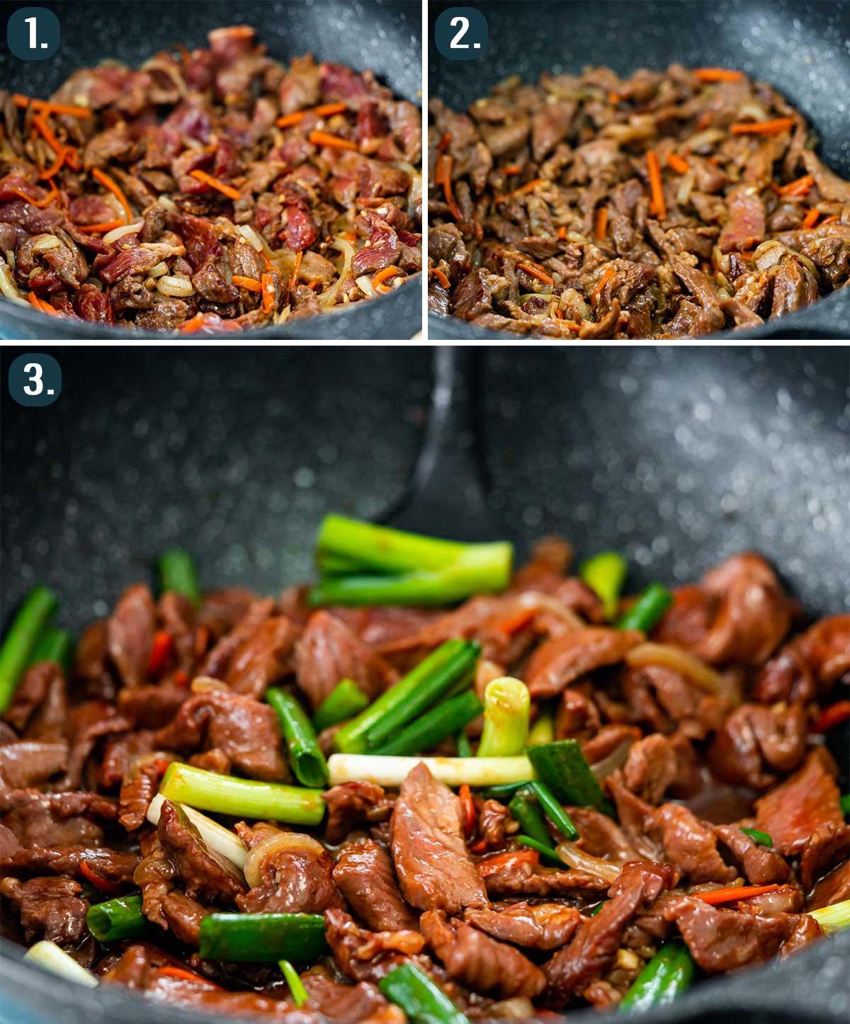 process shots for korean beef stir fry.