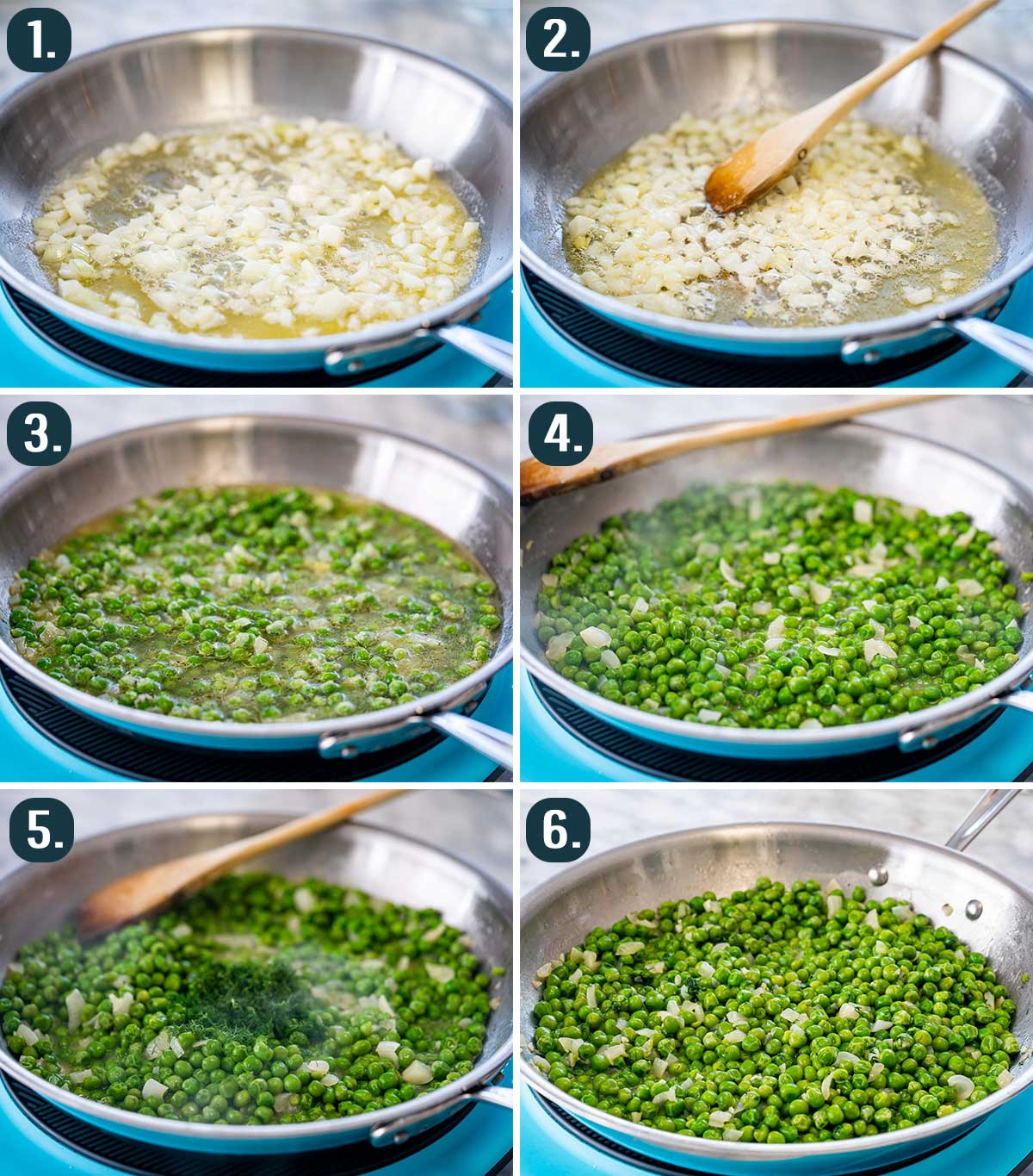 process shots showing how to make sautéed peas.0217