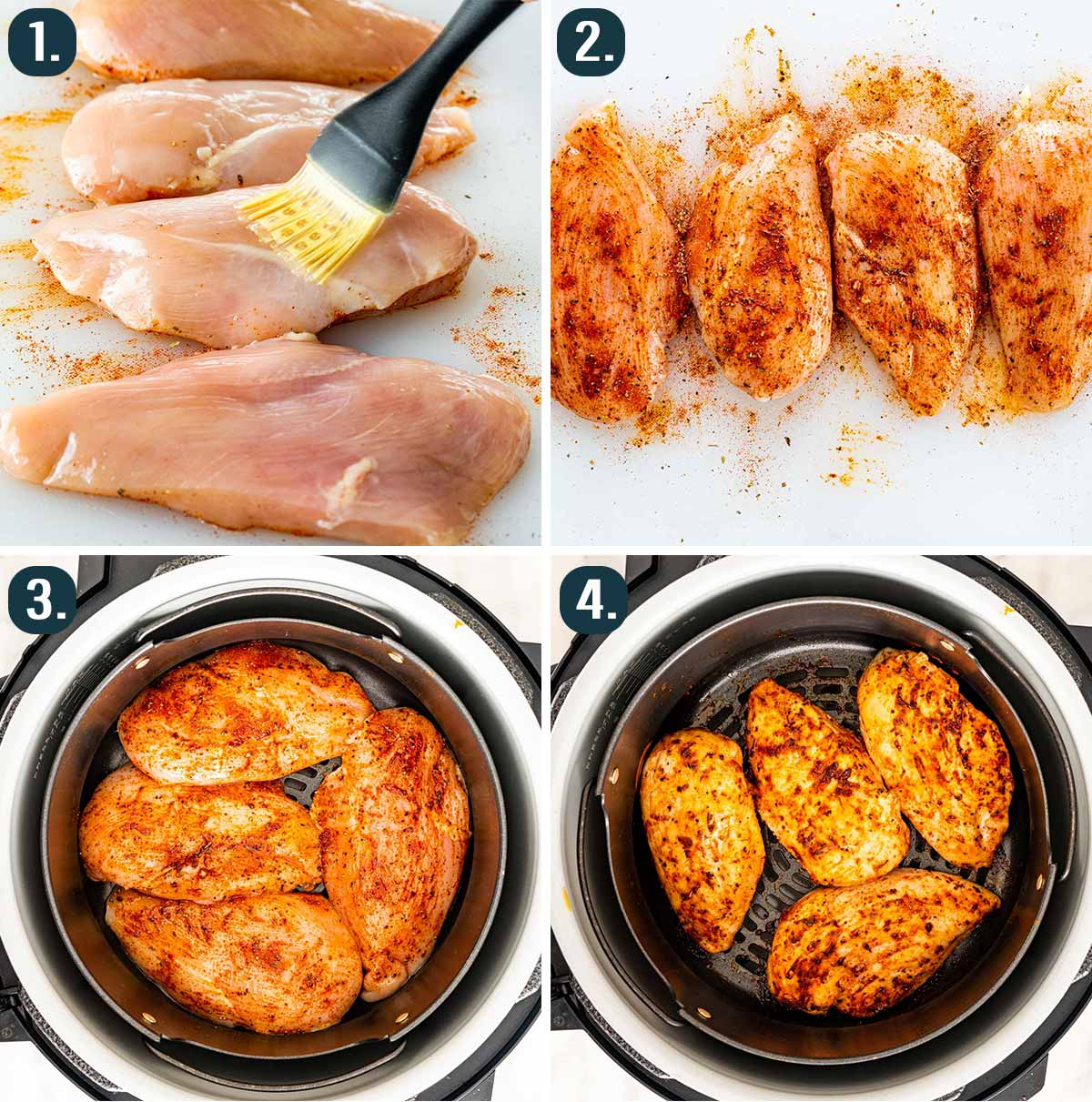 detailed process shots showing how to make chicken breast in the air fryer.