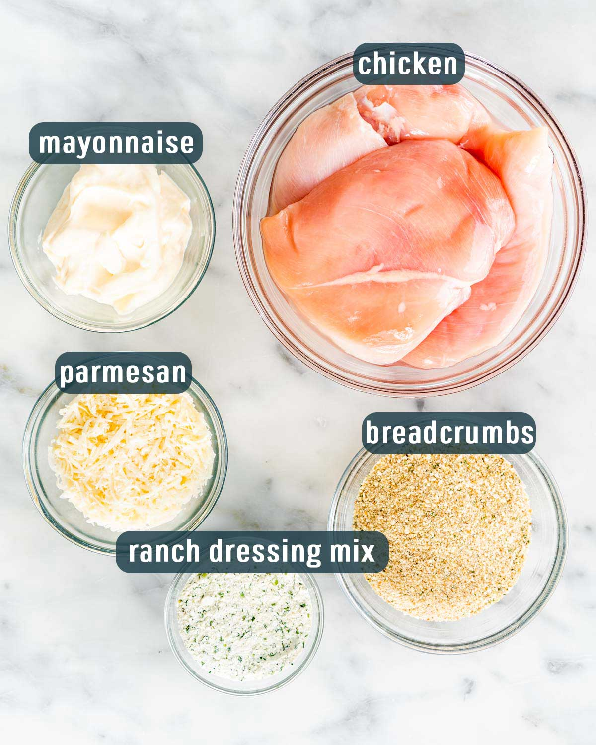 overhead shot of ingredients needed to make baked ranch chicken.