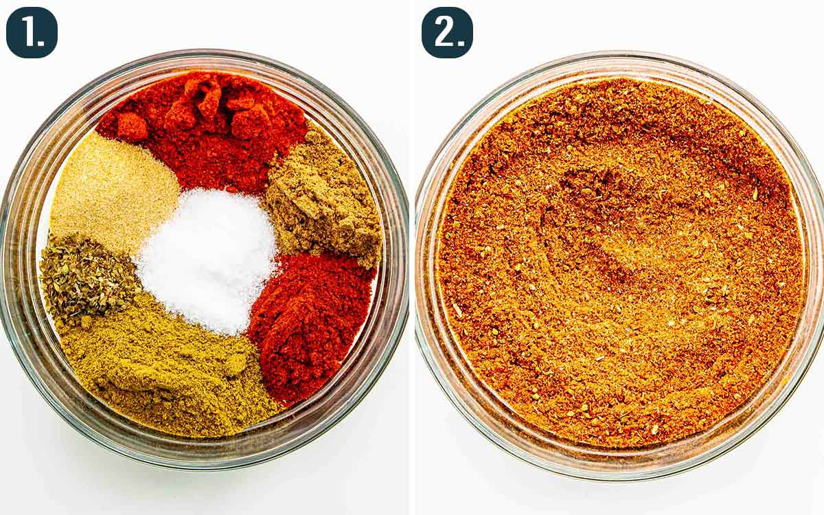 process shots showing how to make tex mex seasoning.