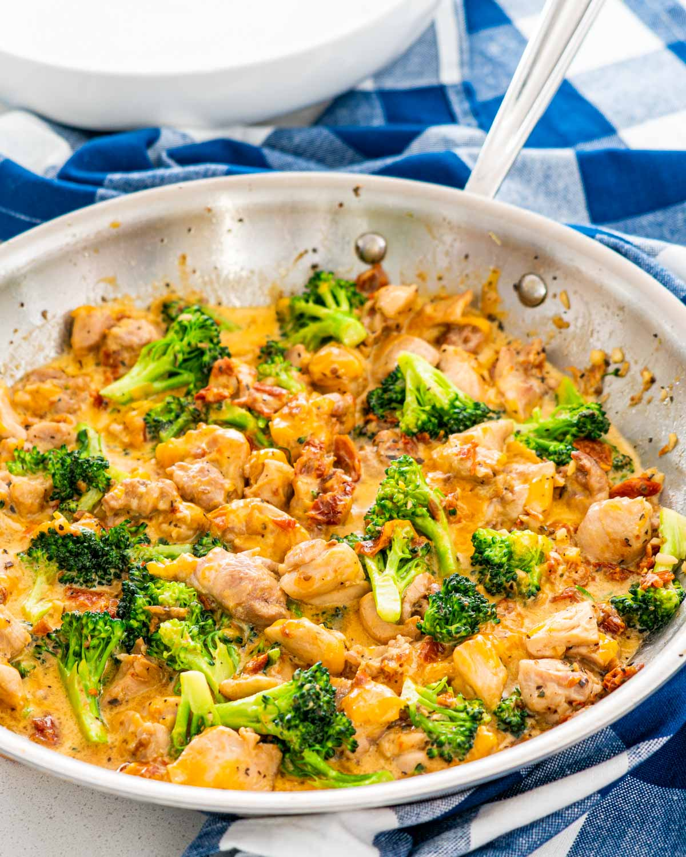 chicken broccoli in a skillet.