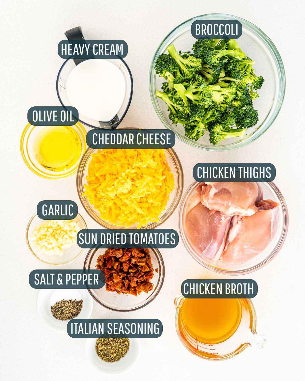 overhead shot of ingredients needed to make chicken broccoli.