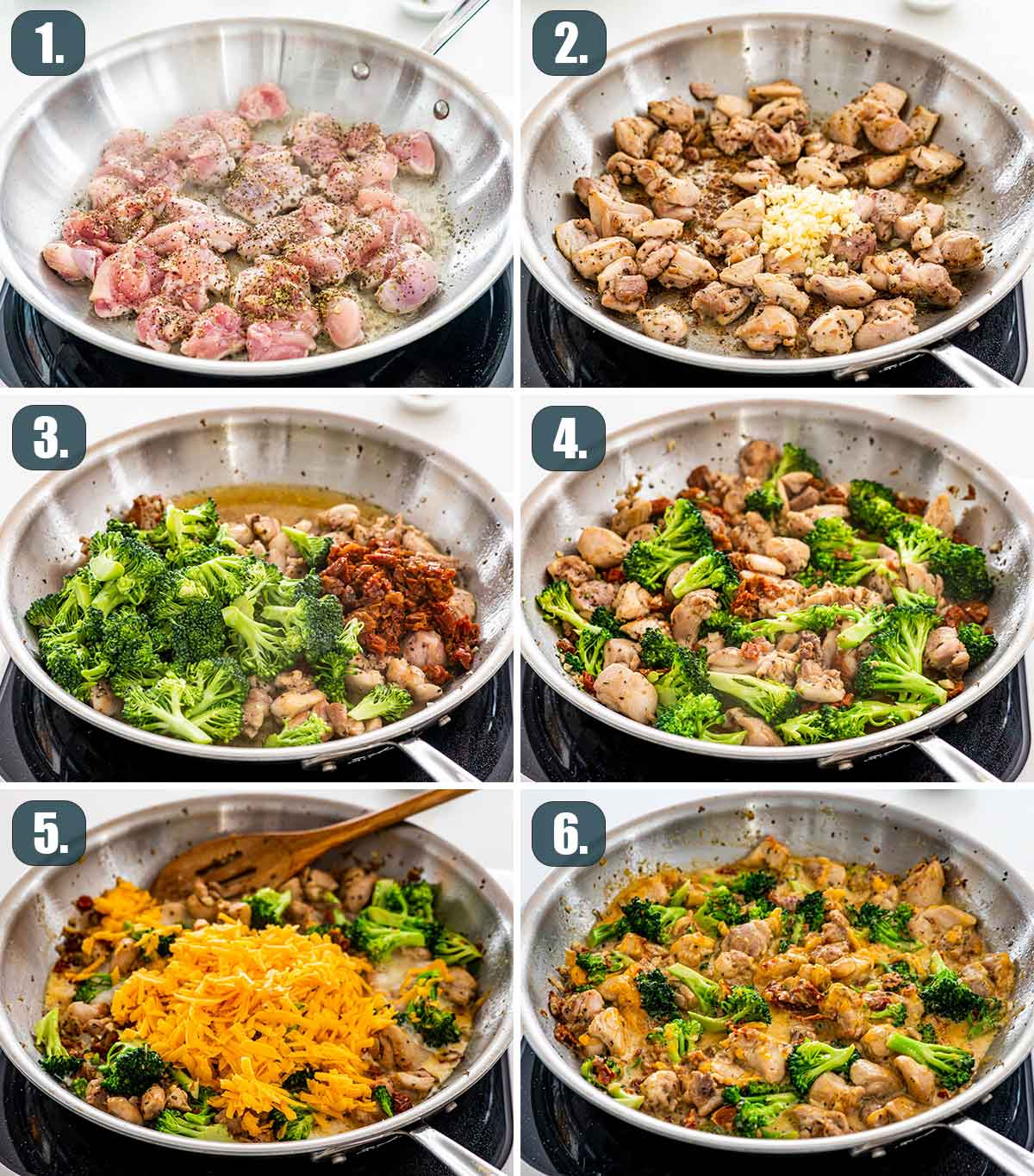 detailed process shots showing how to make chicken broccoli in 15 minutes.