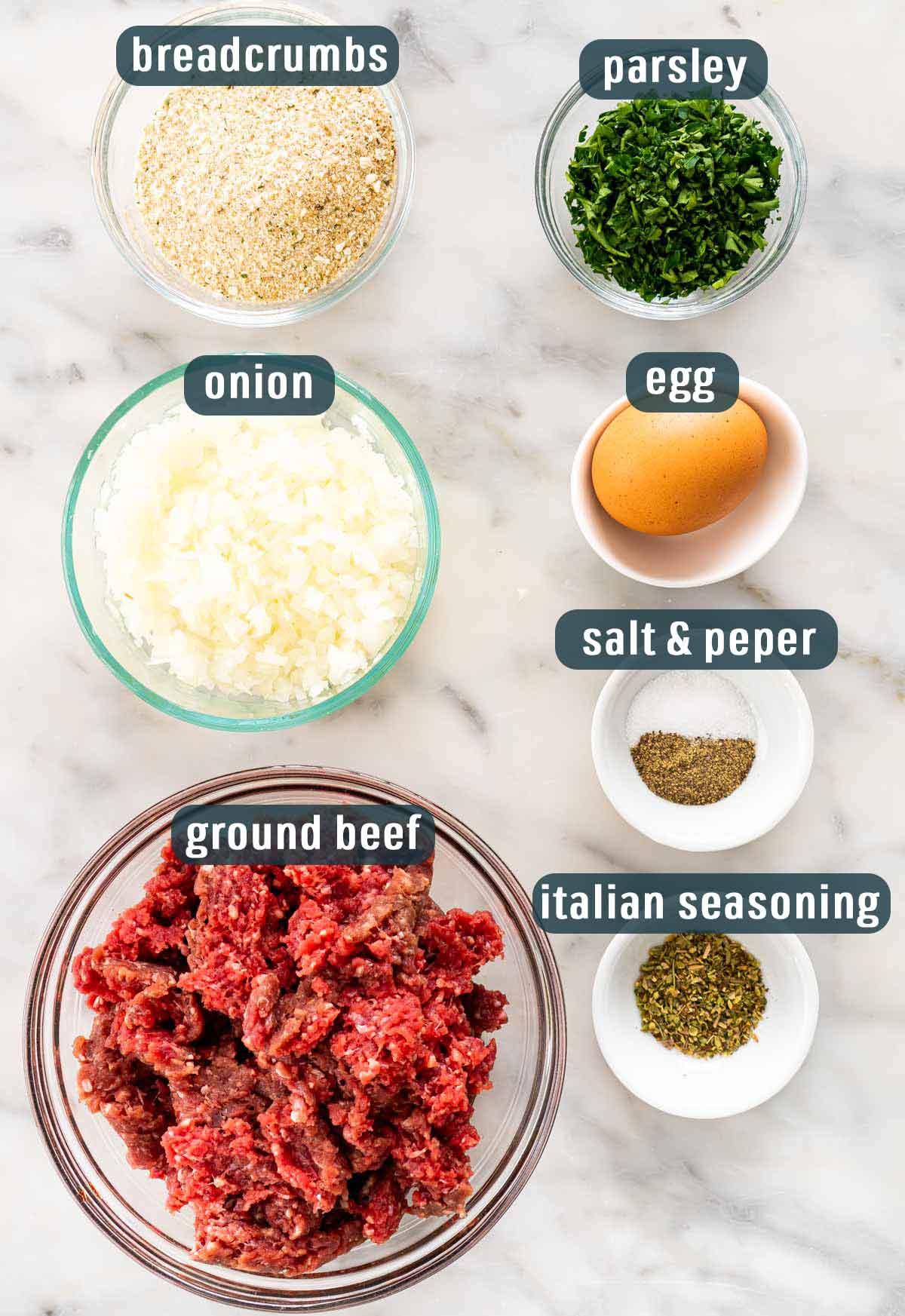 overhead shot of ingredients needed to make meatballs.