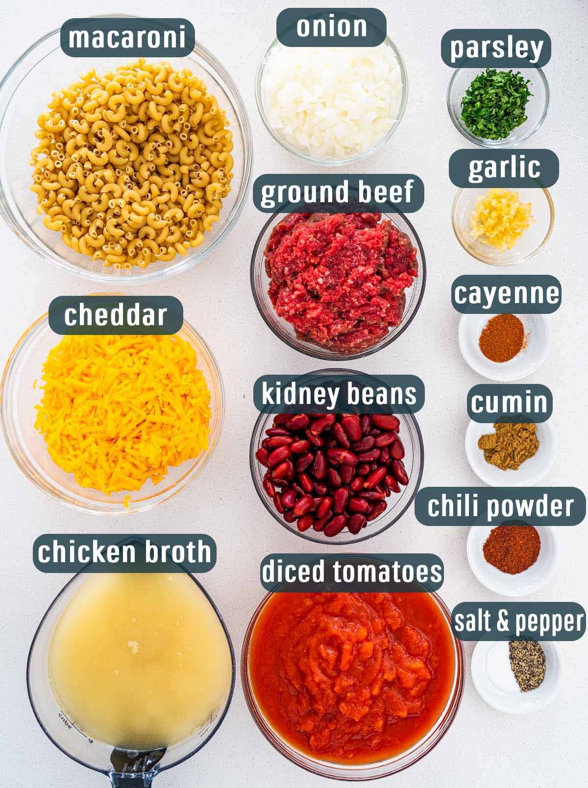 overhead shot of all the ingredients needed to make instant pot chili mac.