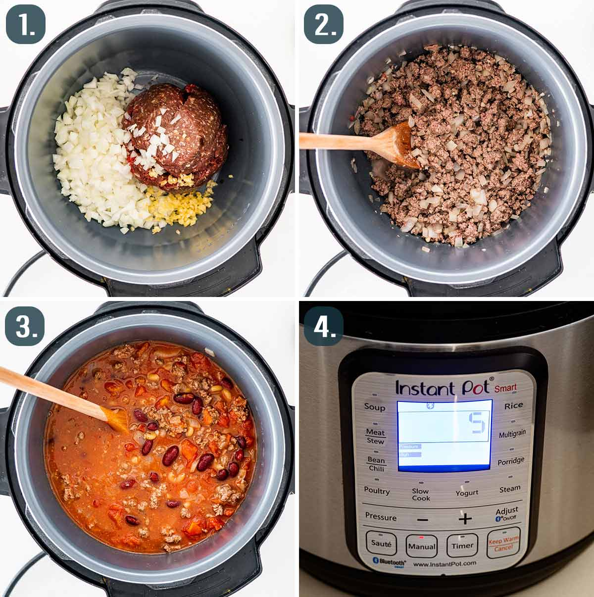 process shots showing how to make instant pot chili mac.