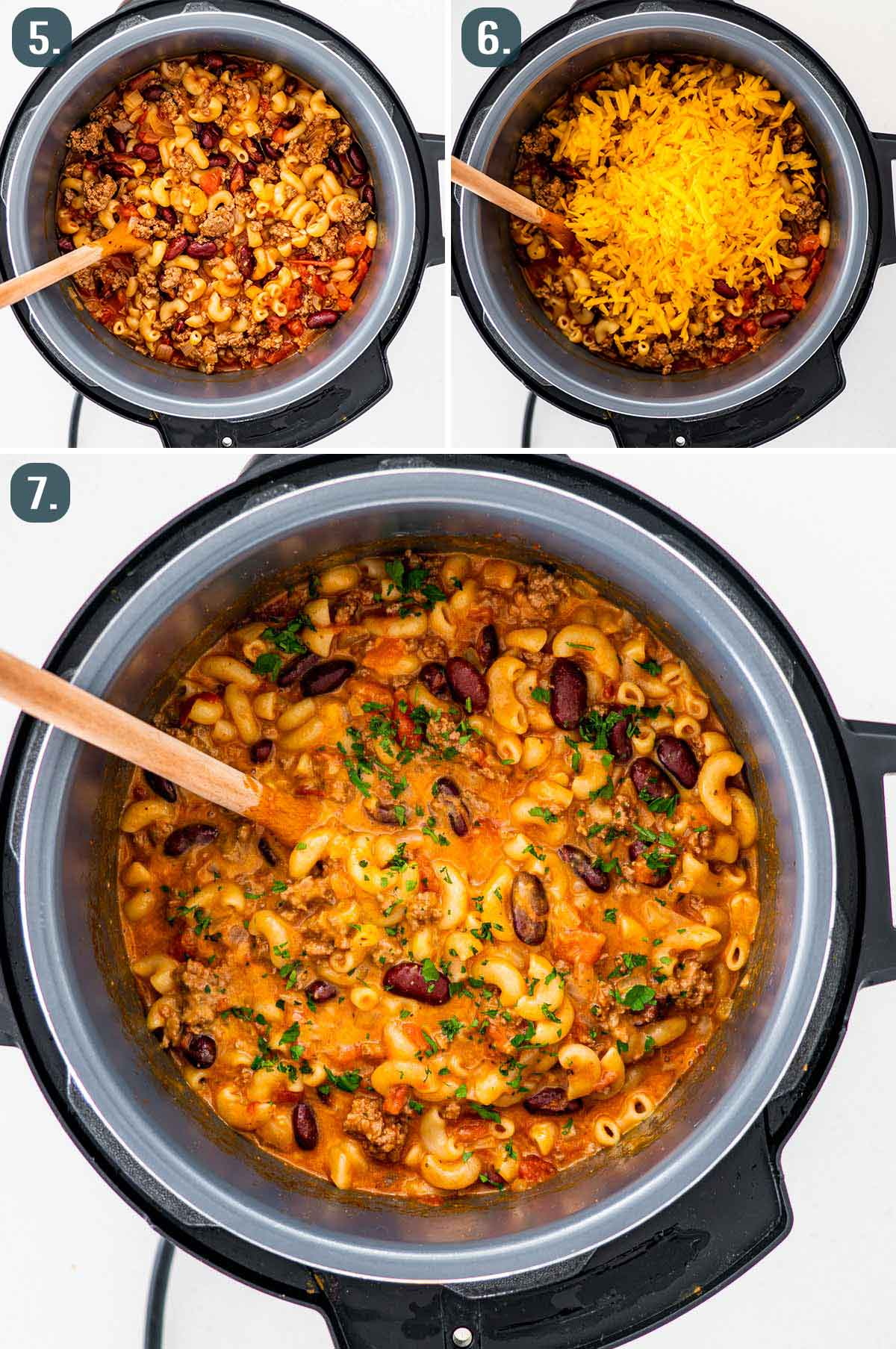 process shots showing how to finish instant pot chili mac.