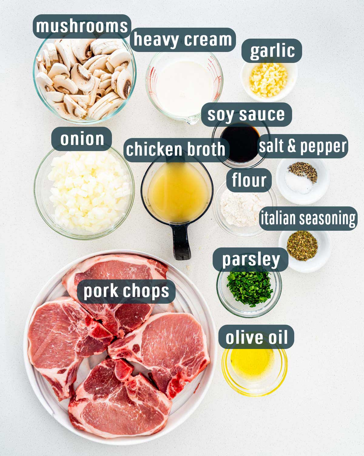 overhead shot of all the ingredients needed to make pork chops with mushroom gravy.
