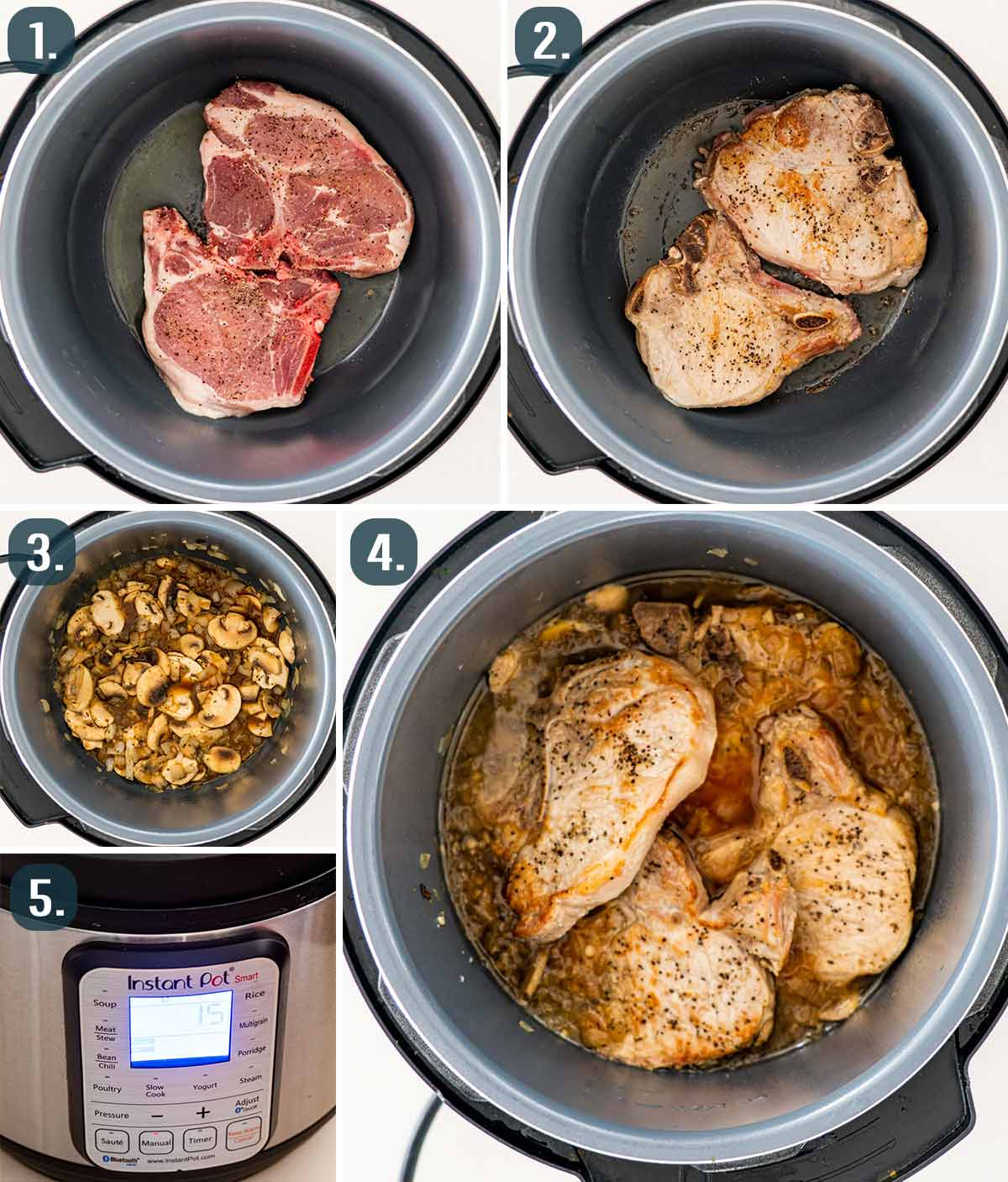 process shots showing how to make pork chops with mushroom gravy in the instant pot.