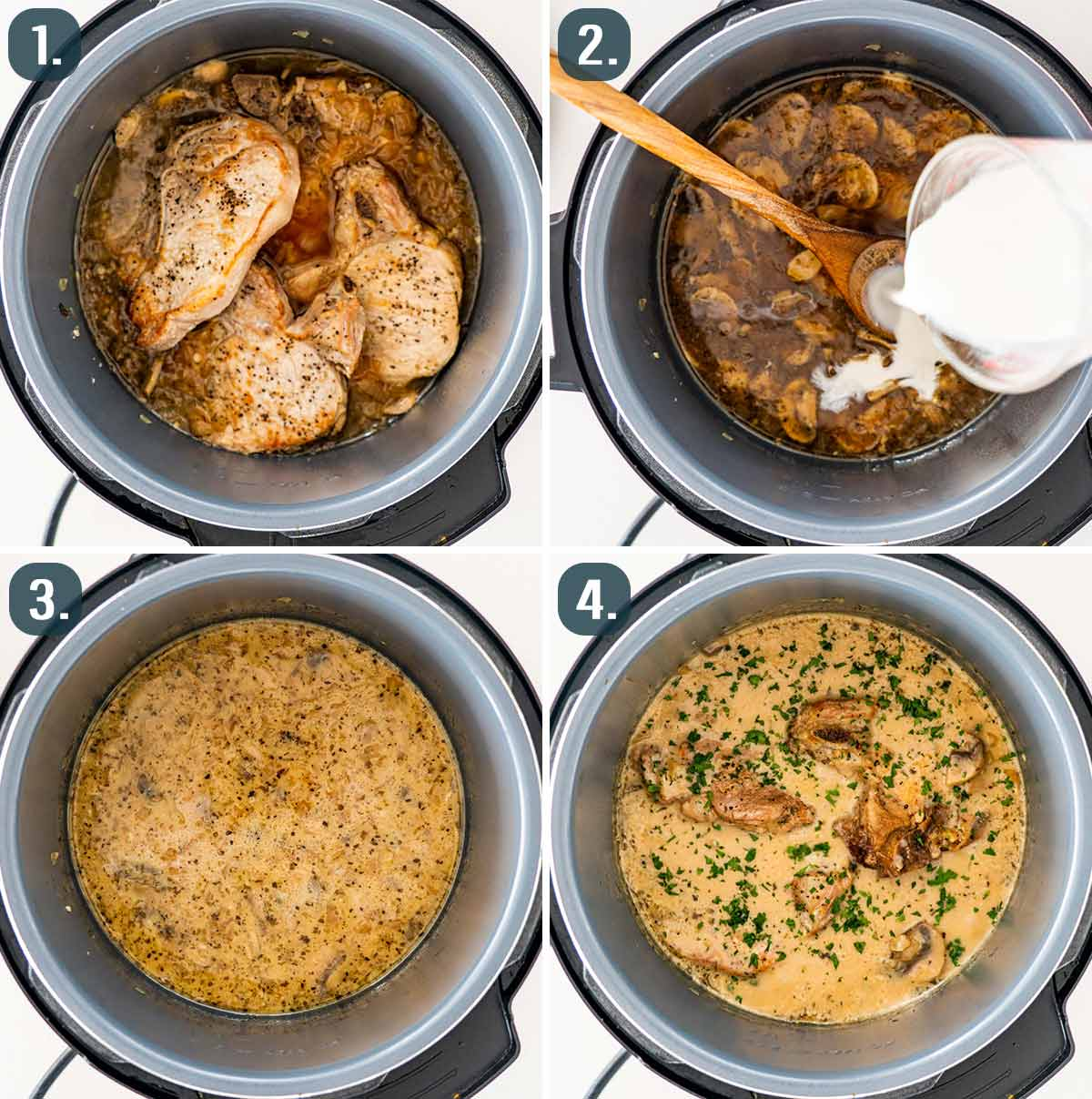 proces shots showing how to finish pork chops with mushroom gravy in the instant pot.