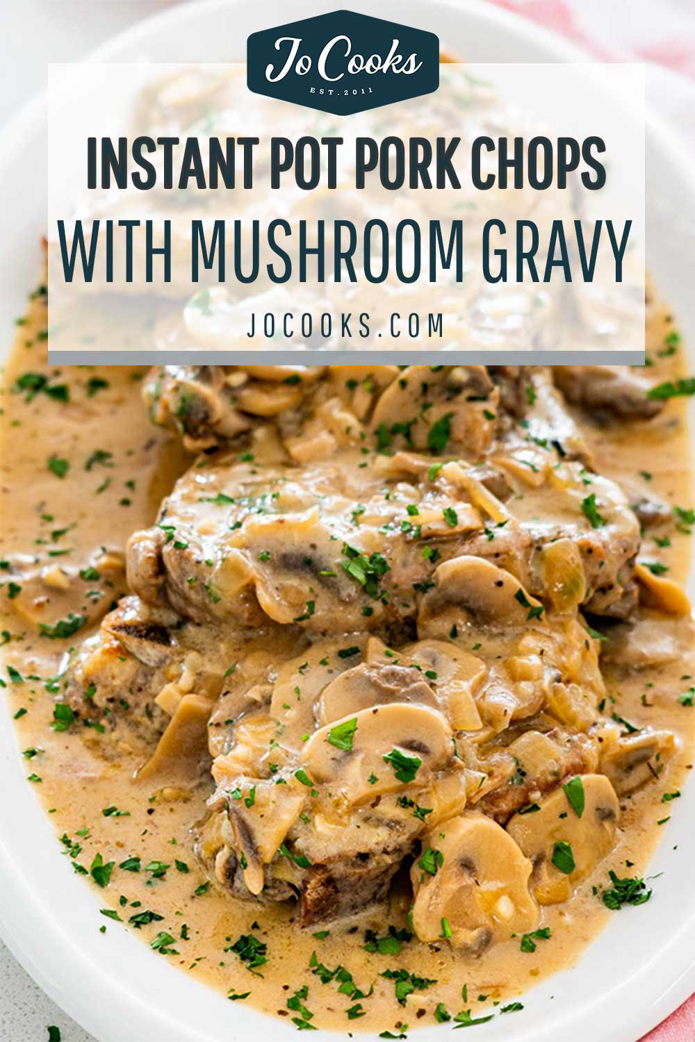 pin for instant pot pork chops with mushroom gravy.