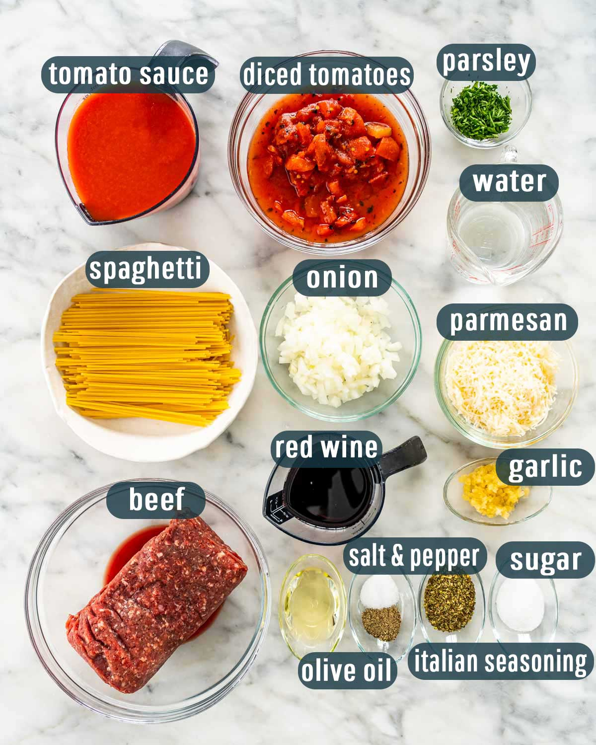 overhead shot of ingredients needed to make spaghetti in the instant pot.