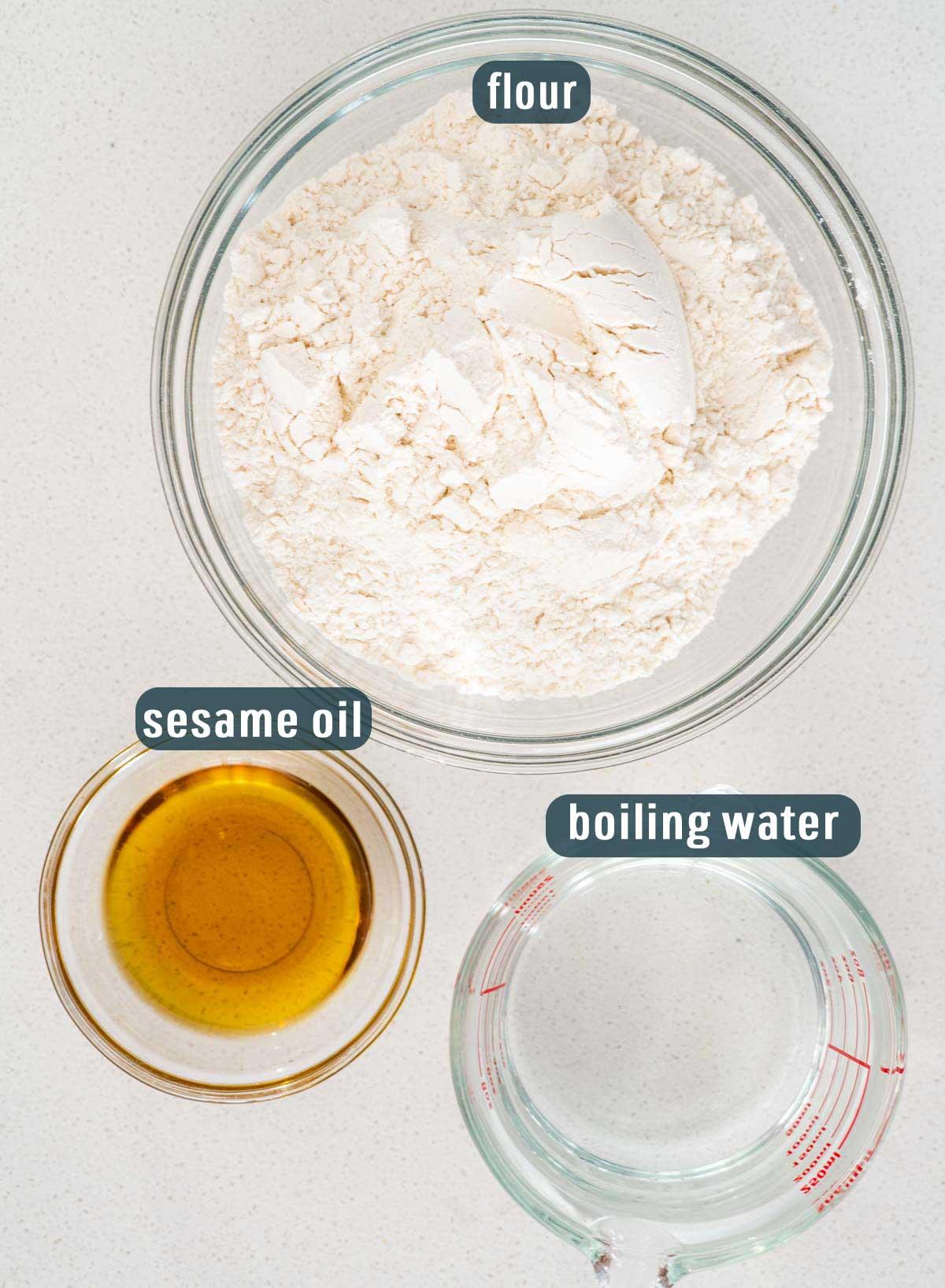 overhead shot of ingredients needed to make mandarin pancakes.