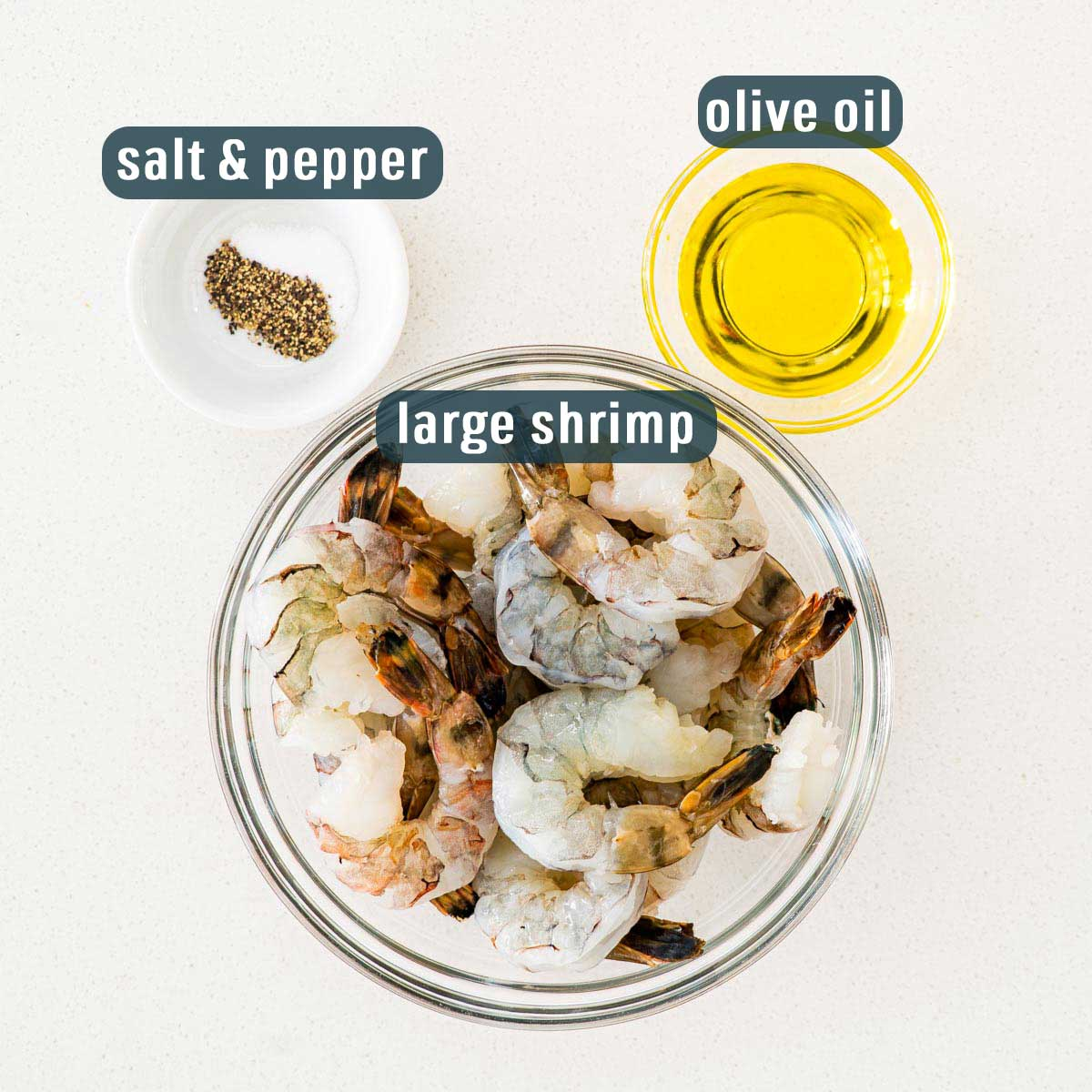 overhead shot of ingredients needed to make oven baked shrimp.