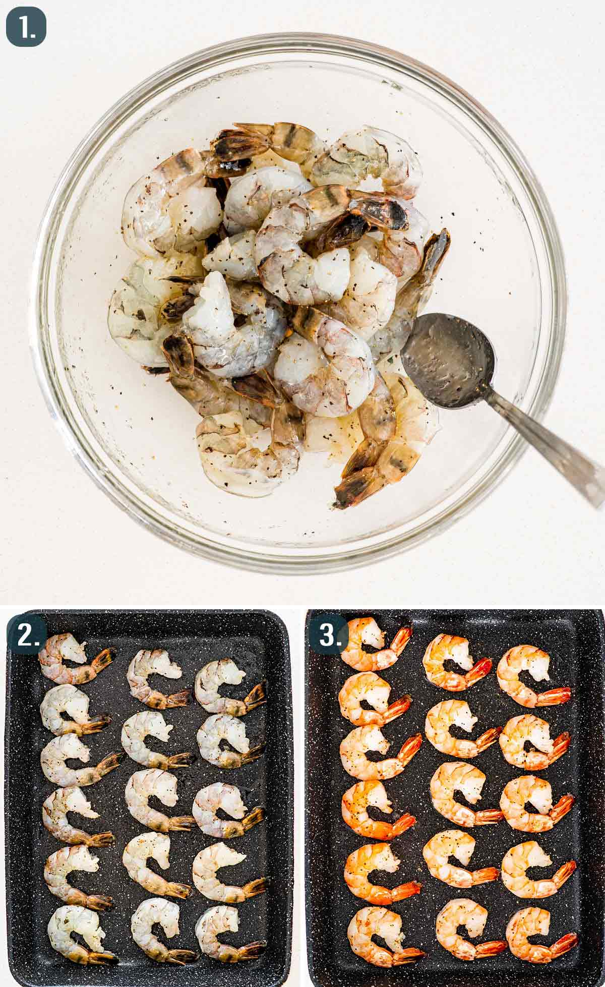 process shots showing how to make oven baked shrimp.