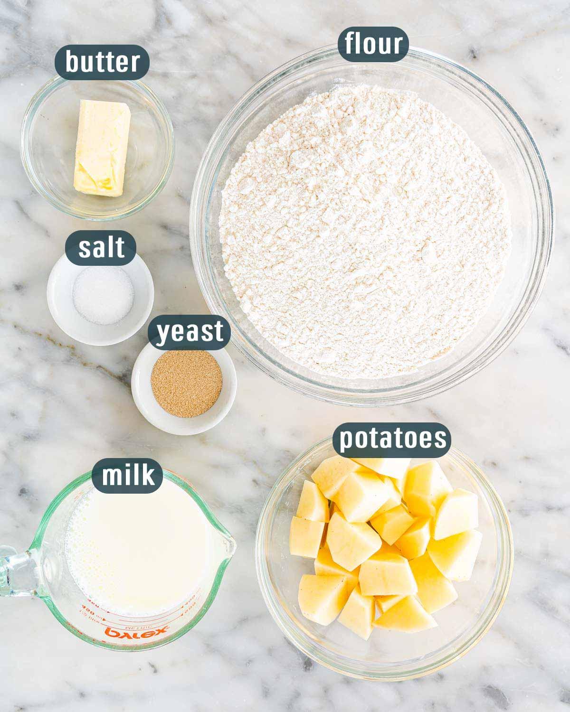 overhead shot of ingredients needed to make potato bread.