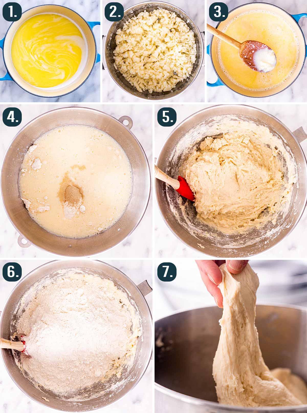 detailed process shots showing how to make dough for homemade potato dough.