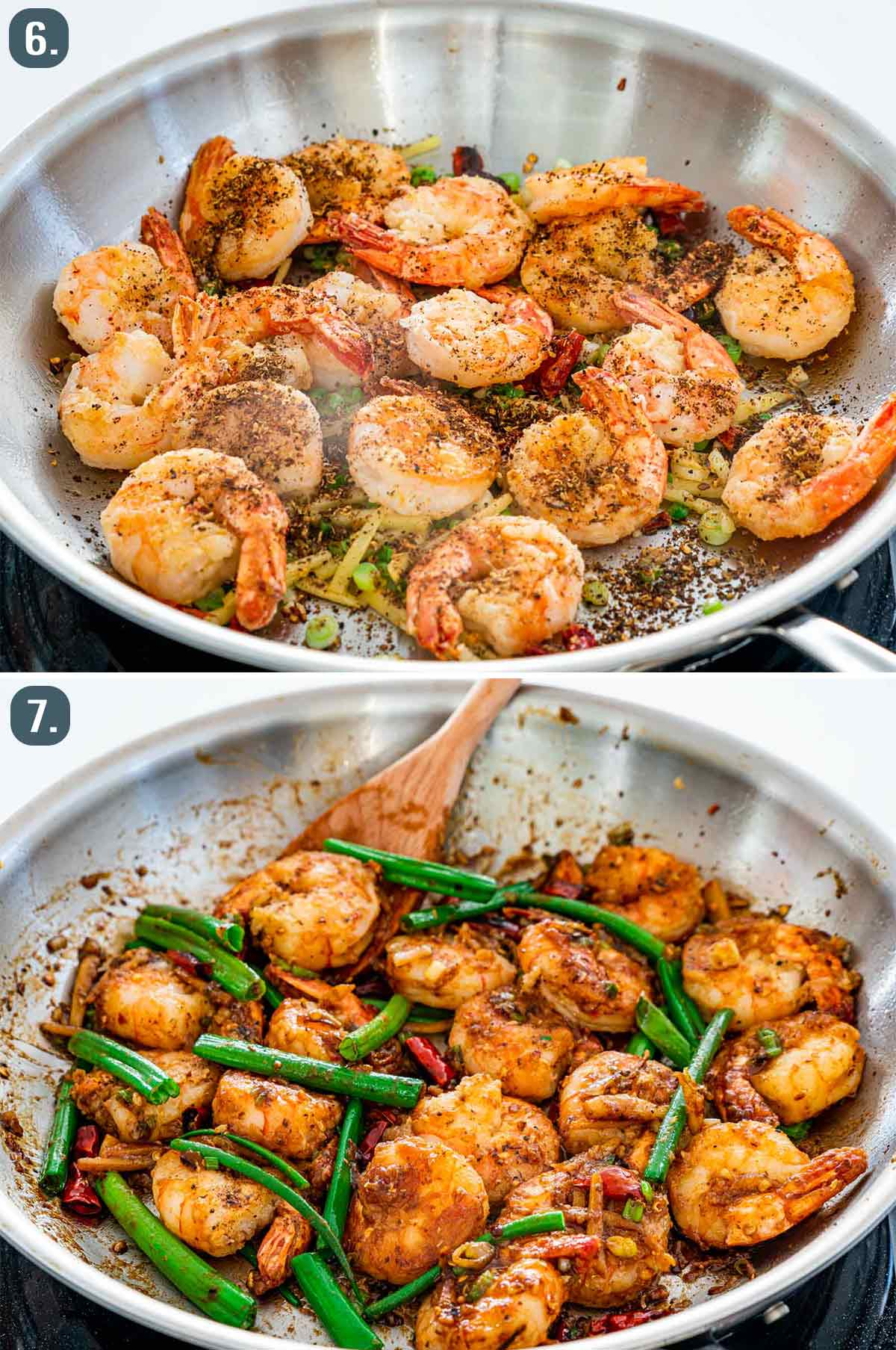 szechuan shrimp before and after adding sauce.