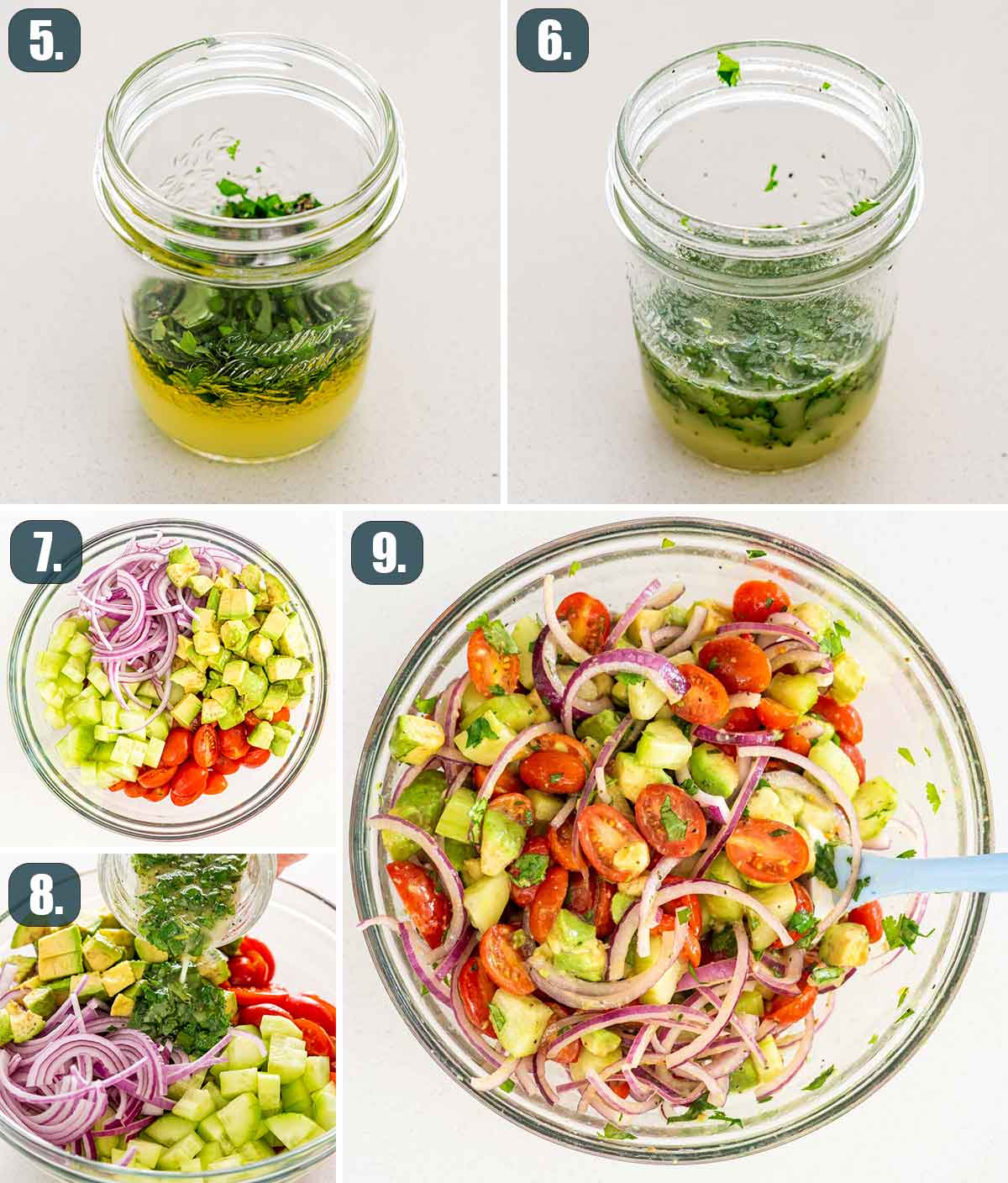 detailed process shots showing how to make avocado salad.