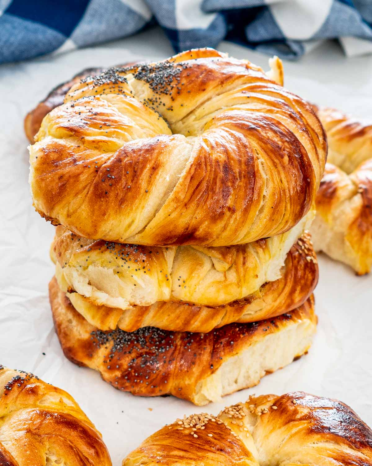 a stack of freshly baked brioche buns.