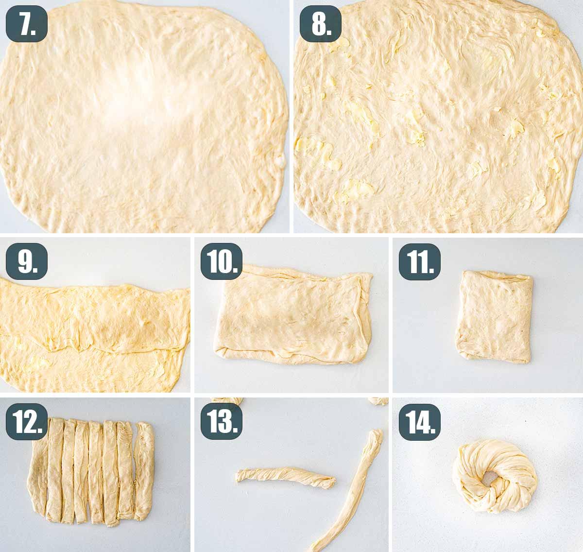 process shots showing how to shape the dough to make brioche buns.