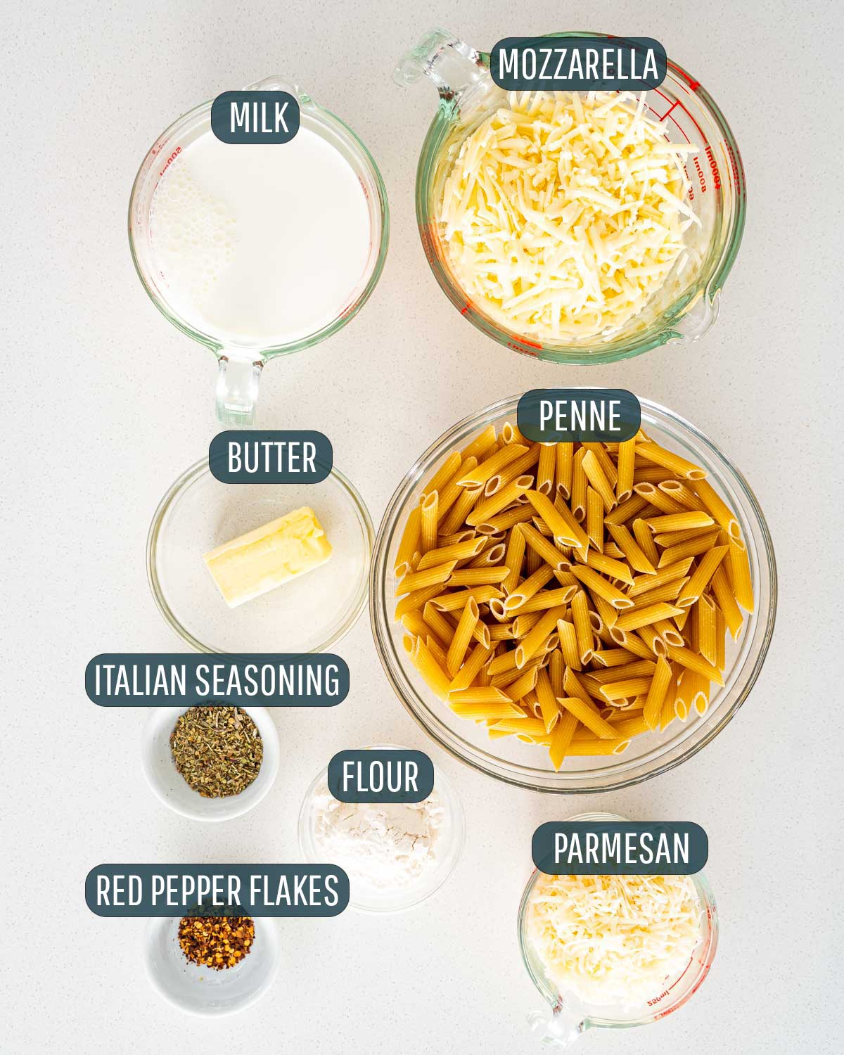 overhead shot of ingredients needed to make italian mac and cheese.