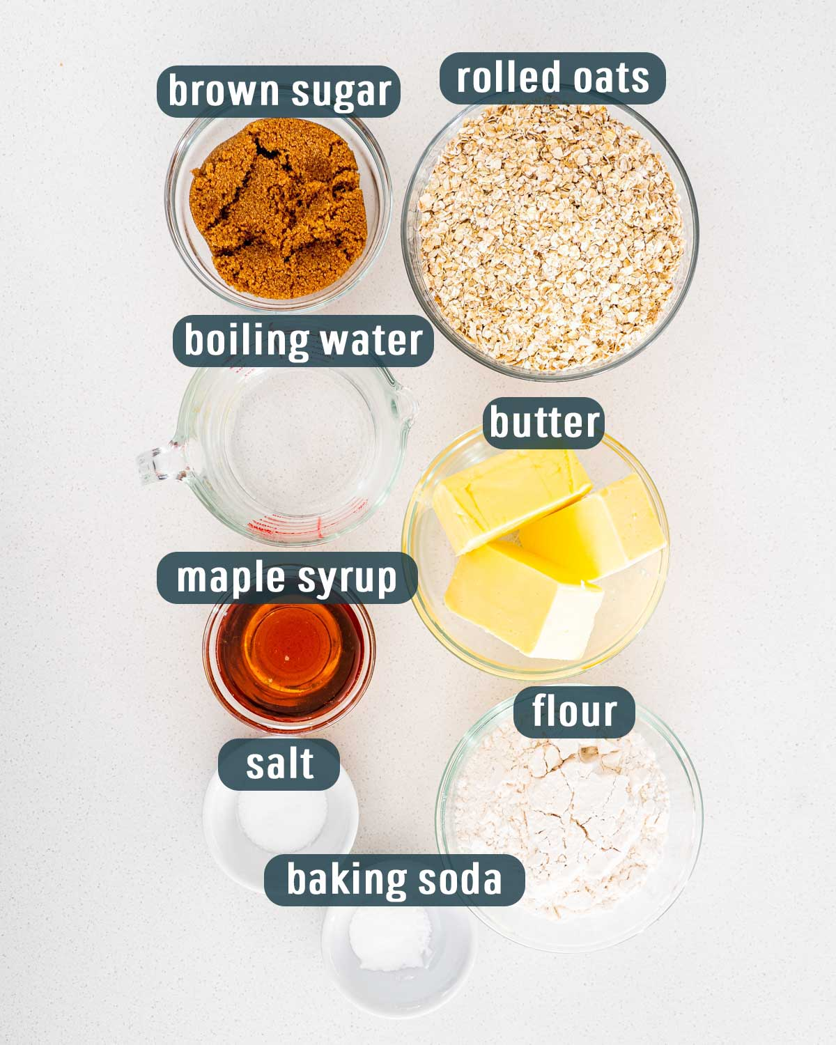 overhead shot of ingredients needed to make oatcakes.