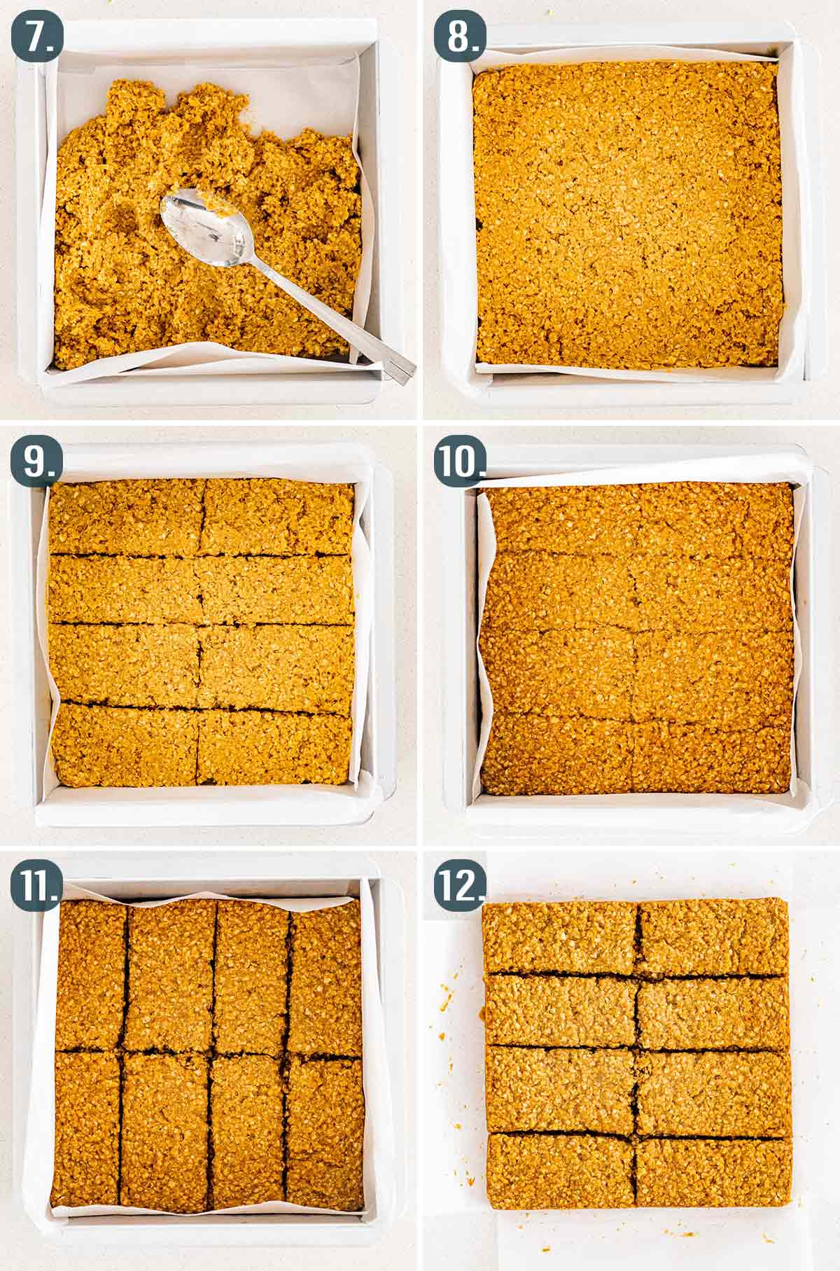 process shots showing how to prep the oatcake batter in the pan and bake it.