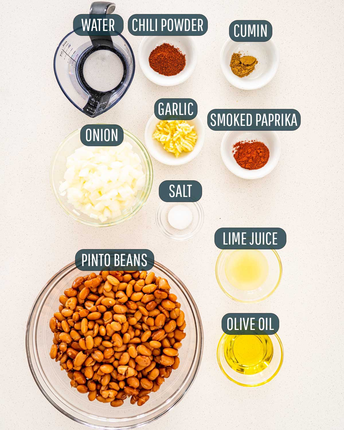 overhead shot of ingredients needed to make refried beans.