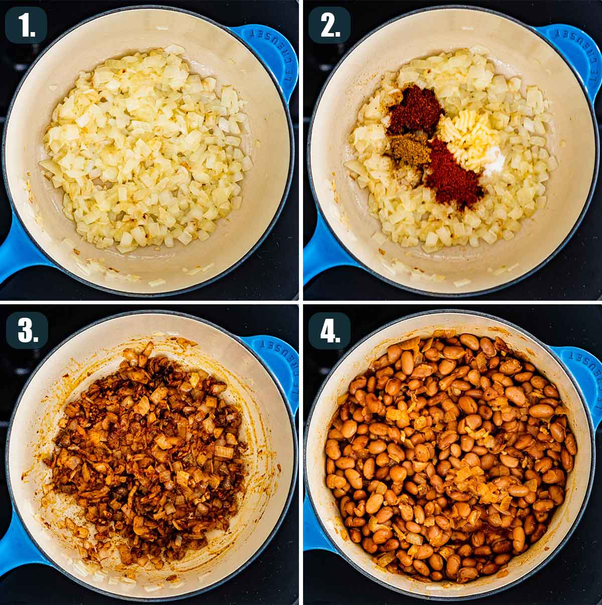 detailed process shots showing how to make refried beans.
