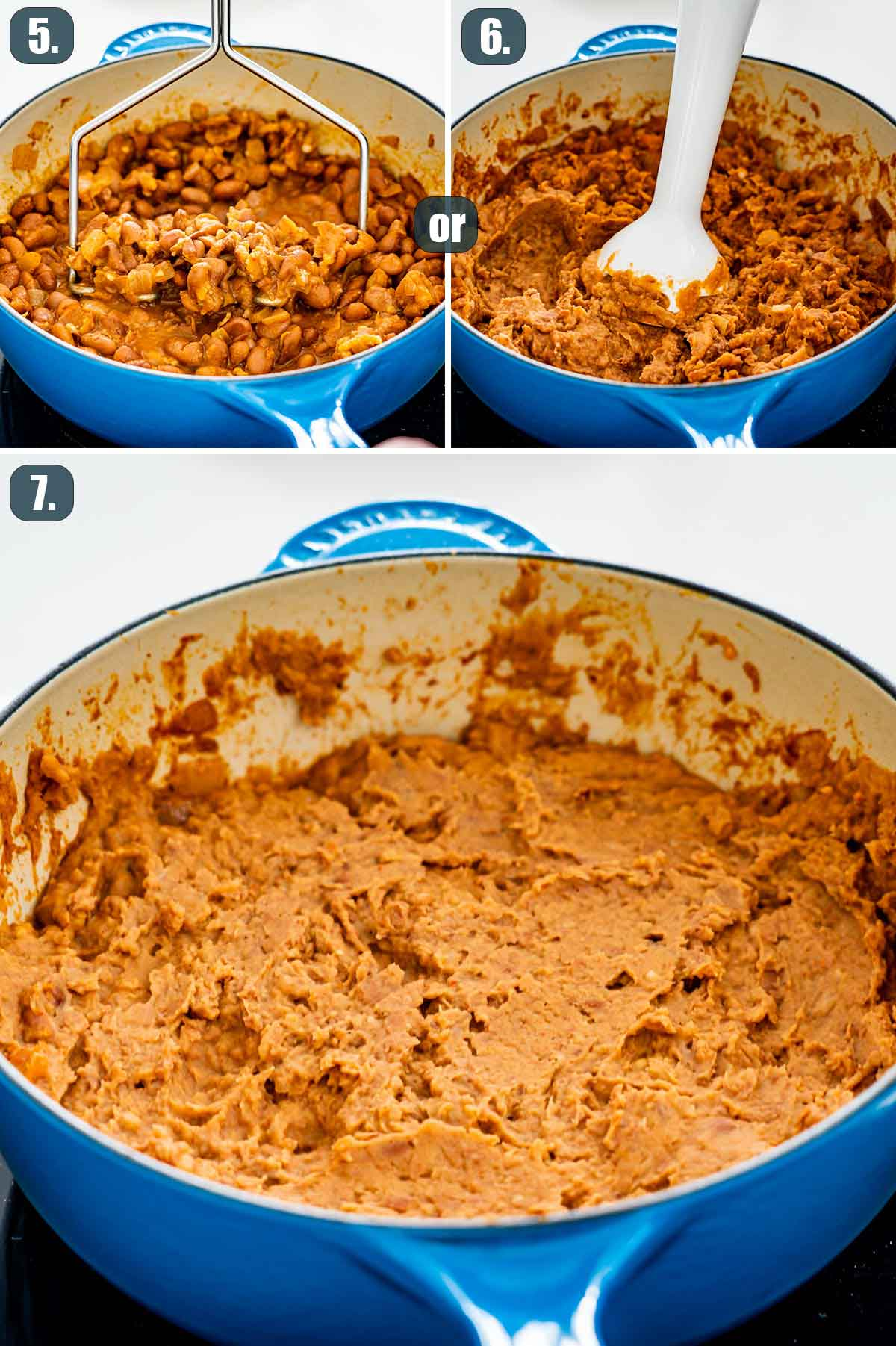 process shots showing how to mash up refried beans.