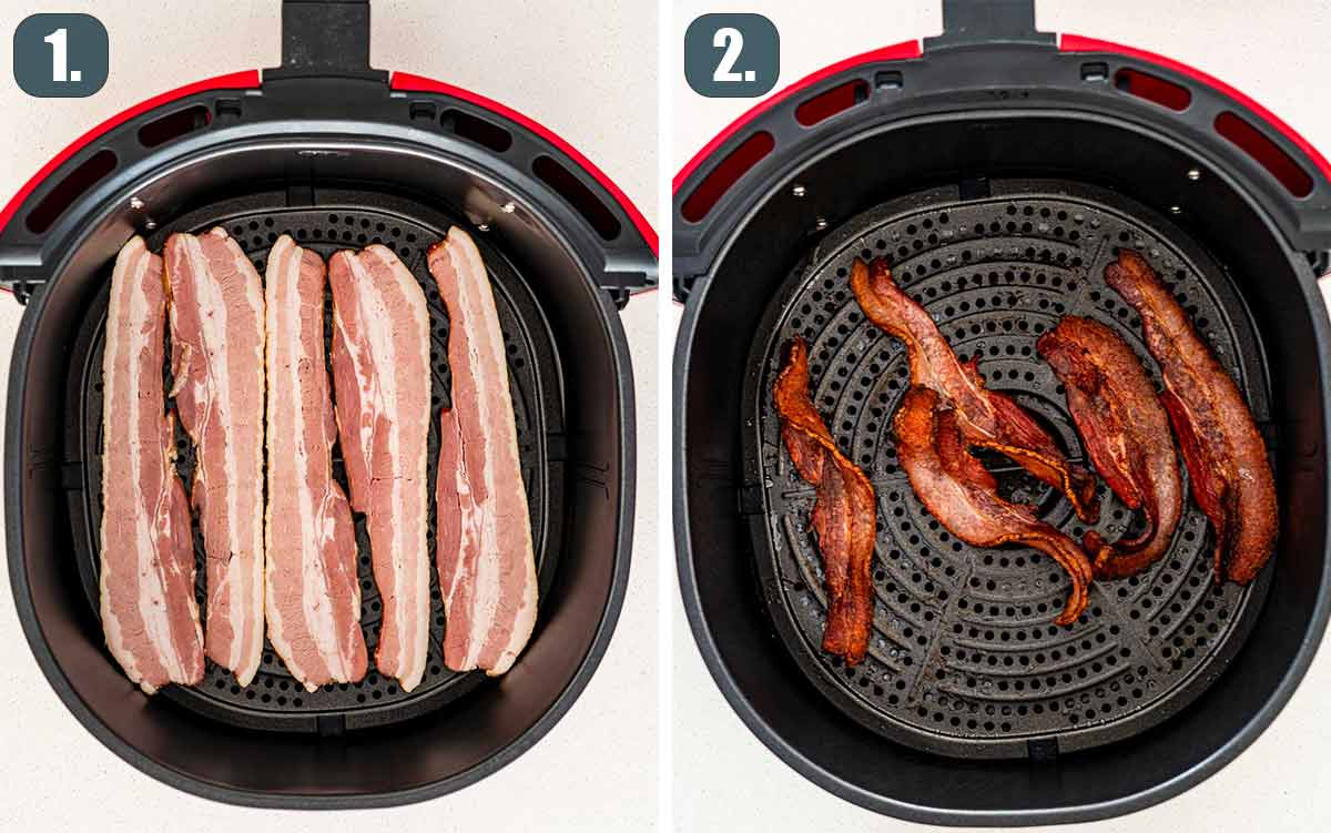 process shots showing how to make bacon in the air fryer.