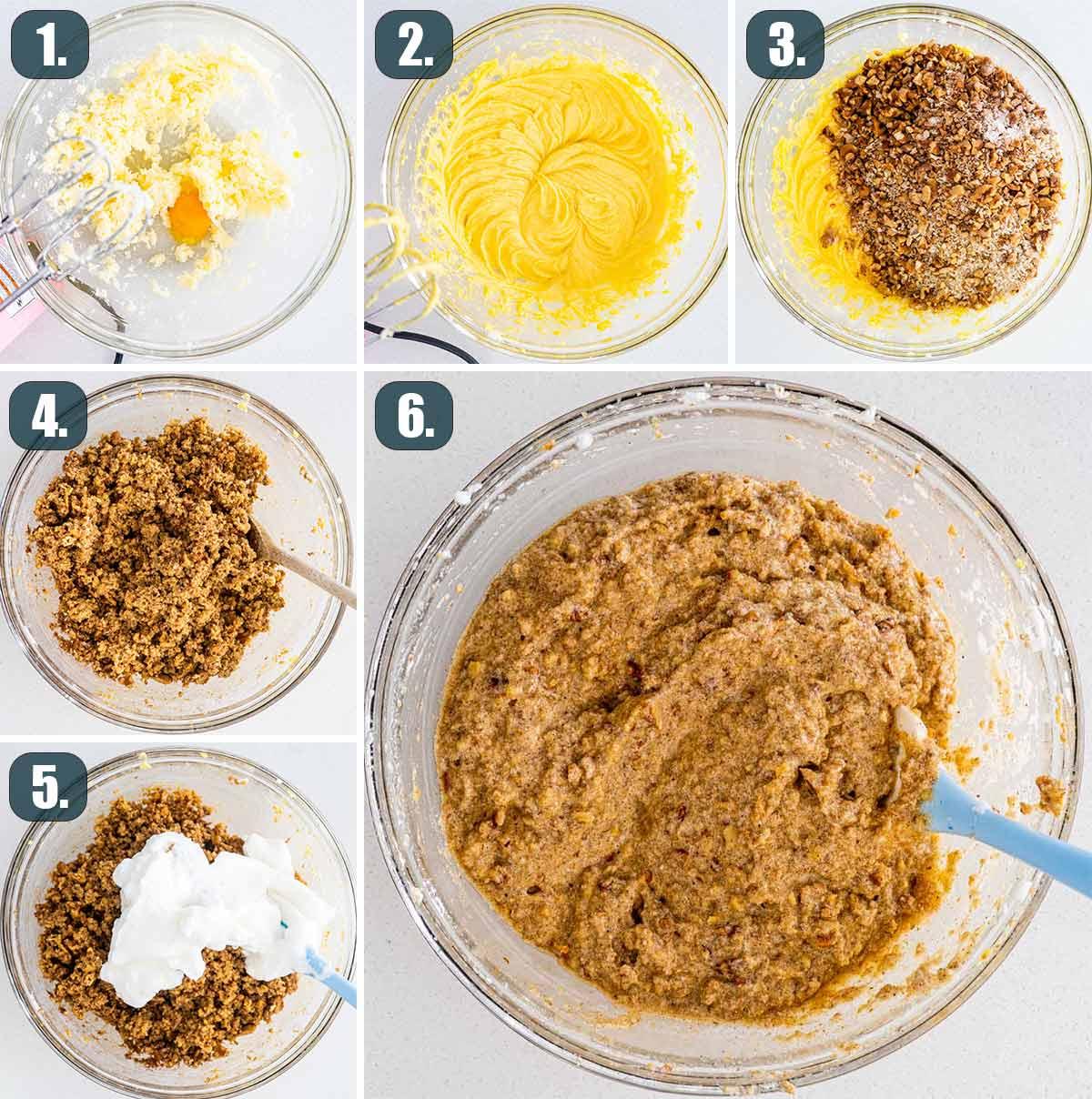 process shots showing how to make batter for karydopita.