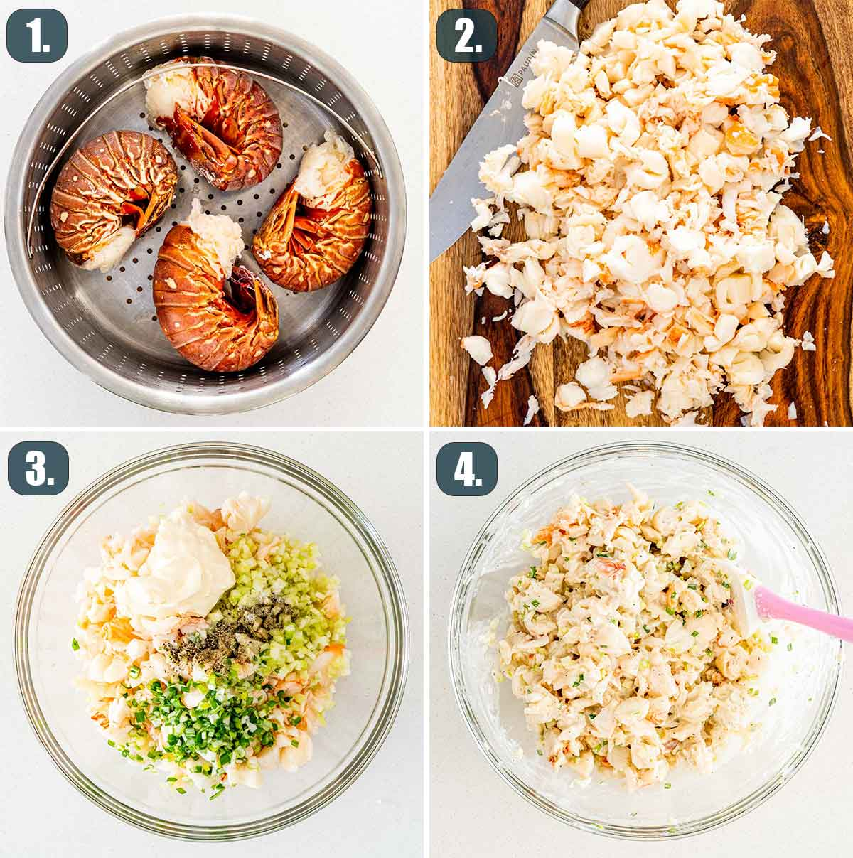 process shots showing how to make the filling for lobster rolls.