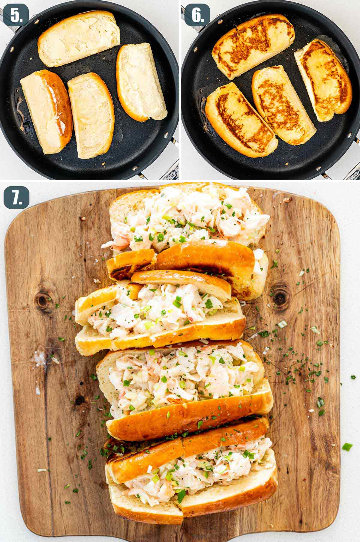 process shots showing how to assemble lobster rolls.